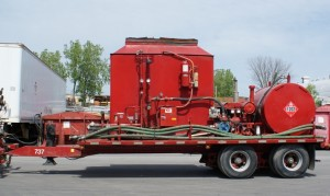 Mobile boiler unit to heat up downwell fluids.