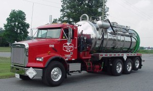 Straight truck with stainless steel barrel and high pressure pump