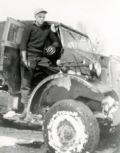 Harold Marcus with his first oil truck – 1942, 1500 weight, 4x4 army truck with 16 barrel tank. (Est. 1946)