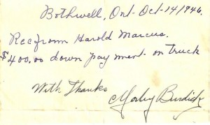 Receipt for Harold's purchase of his first oil truck. (October 1946)