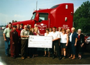 Harold and son Denis, pictured with members of Harold Marcus Limited making donation to Strathroy Middlesex General Hospital Foundation. (July 2007)
