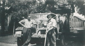 Harold with father, Andy Marcus, pictured the day Harold purchased his truck. (October 1946)