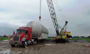 Marcus performing oversized load movement with dropdeck flatbed.
