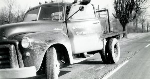 Harold with his second truck - 1947 single axle 1 ½ ton GMC with a 14 BBL tank. (February 8, 1949)