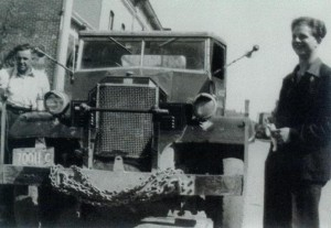 Harold Marcus and Ron McClarty with Harold's first oil truck - 1942 Army Truck. (Est. October 1948)