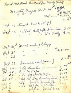 Image of Harold's original ledger. (October 1946)
