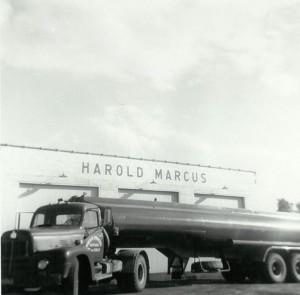 Harold's first tank truck - 1955 R-190 I.H.C Tractor and 1955 Fruehauf 132 barrel trailer. (September 1955)